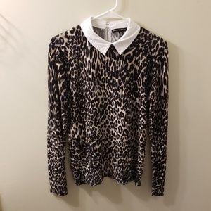 Cable & Gauge Leopard Print Sweater